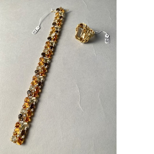 1970's 18ct Yellow Gold Citrine, Smokey Quartz & Diamond stone set Bracelet, SHAPIRO & Co since1979 - image 4