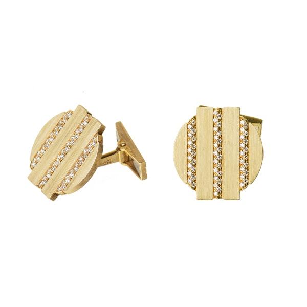 Vintage Cufflinks by Piaget, Diamond set 18 Karat Gold, Swiss circa 1975. - image 1