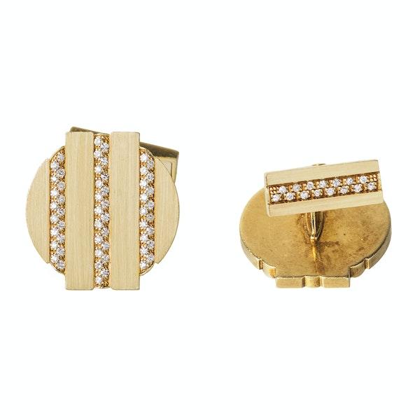 Vintage Cufflinks by Piaget, Diamond set 18 Karat Gold, Swiss circa 1975. - image 4