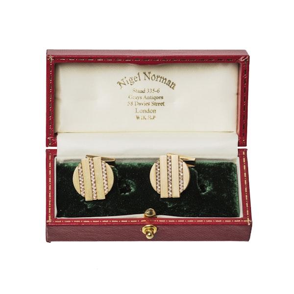 Vintage Cufflinks by Piaget, Diamond set 18 Karat Gold, Swiss circa 1975. - image 5