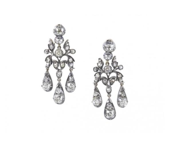 Antique Diamond Drop Earrings, 6.50ct - image 1