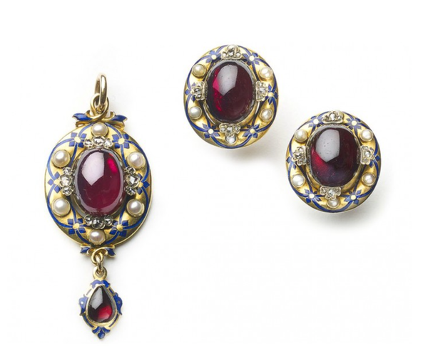 Victorian Holbeinesque Garnet Pearl And Enamel Earrings And Pendant Gold Suite - image 1
