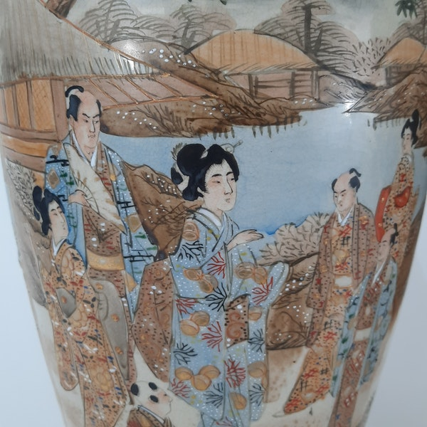 Pair Japanese Satsuma vases with decoration of wealthy figures - image 1