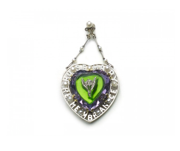 Antique Amethyst, Diamond And Glass Suffragette Pendant, Circa 1913 - image 1