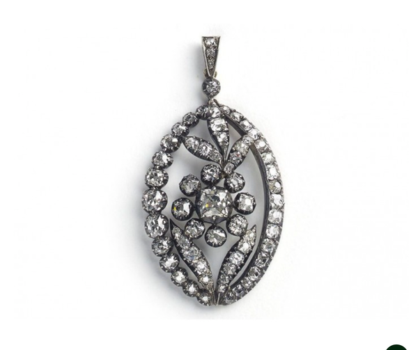 Antique Diamond Silver And Gold Flower Pendant, Circa 1880 - image 1