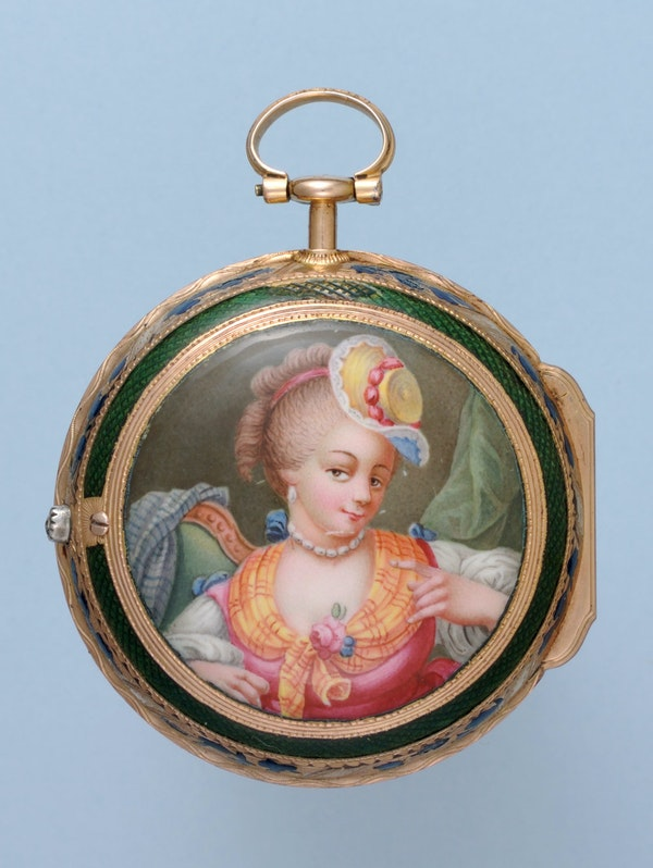 GOLD AND ENAMEL TRIPLE CASED VERGE POCKET WATCH - image 5