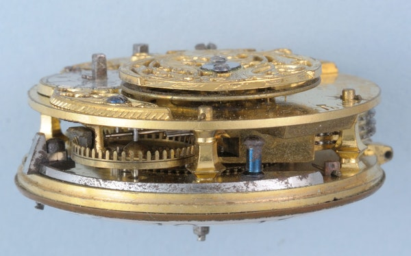 GOLD AND ENAMEL TRIPLE CASED VERGE POCKET WATCH - image 2