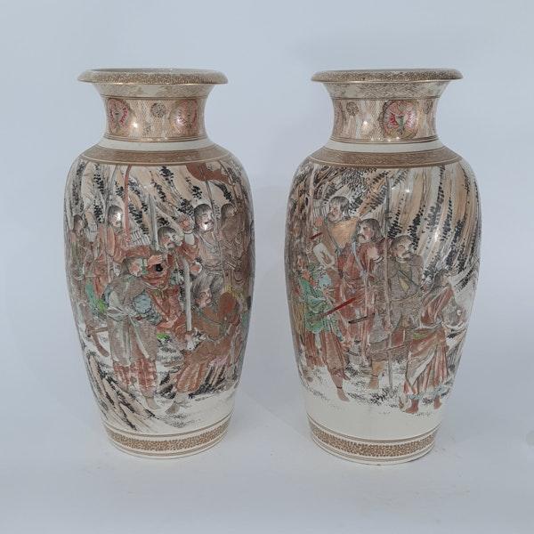 Pair Japanese Satsuma vases with decoration of Samurai - image 6
