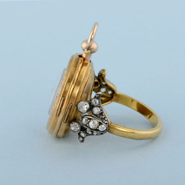 GOLD WATCH AND DIAMOND SET RING MOUNT - image 9