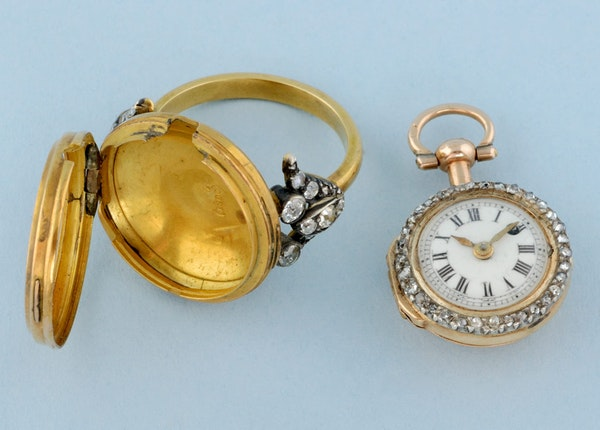GOLD WATCH AND DIAMOND SET RING MOUNT - image 7