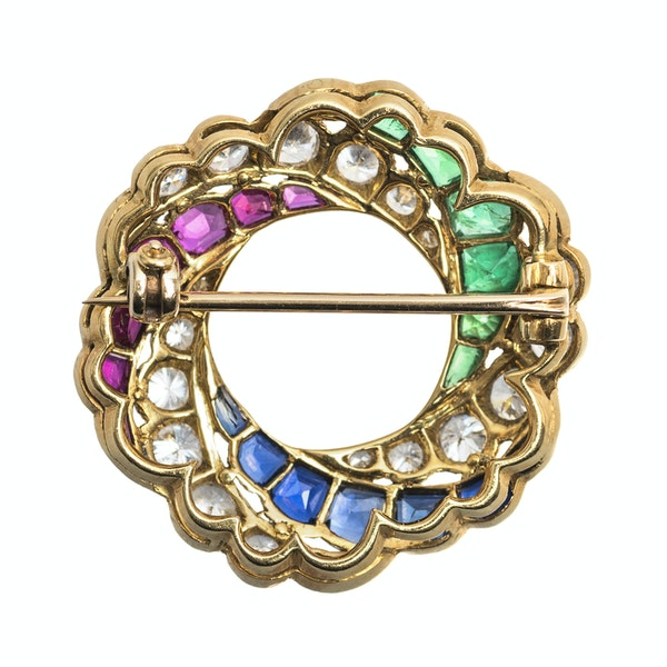 Antique 19th Century Catherine Wheel Brooch, Emerald, Diamonds, Rubies and Sapphires in 18 Carat Gold, English circa 1890 - image 3