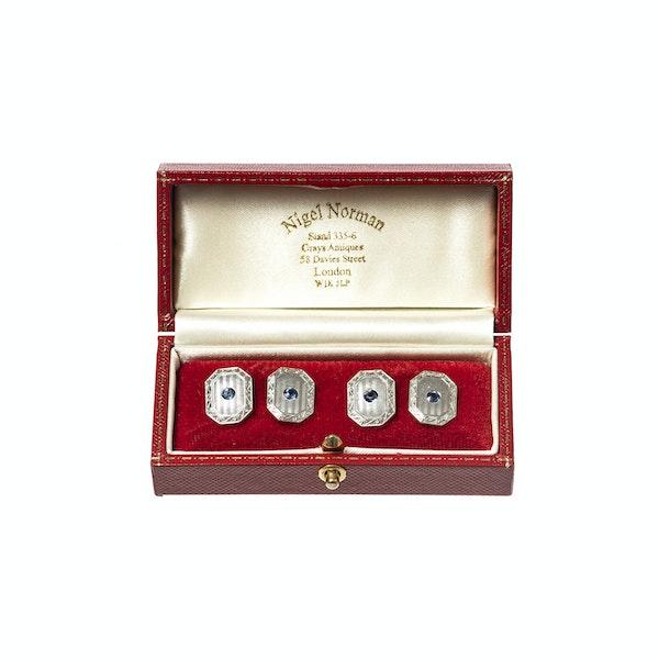 Antique Cufflinks in 14 Karat White Gold with Sapphire Centre, *USA circa 1920 - image 2