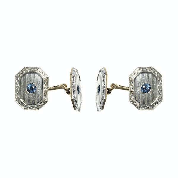 Antique Cufflinks in 14 Karat White Gold with Sapphire Centre, *USA circa 1920 - image 1