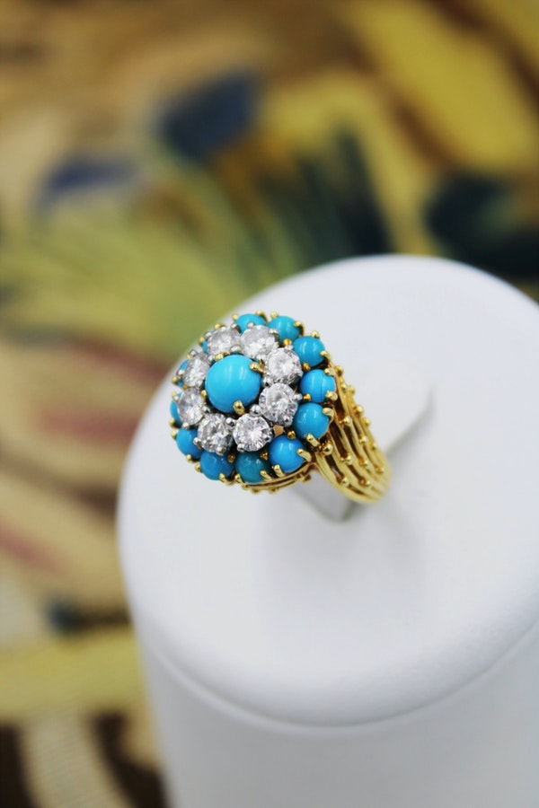 A stylish Turquoise & Diamond Cocktail Ring set in  18 Carat Yellow Gold, French, Circa 1960 - image 1