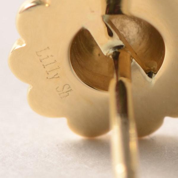 2010's Lilly Shapiro 18k Yellow Gold & Diamond stone set Earrings ( Sunflower ), SHAPIRO & Co - image 5