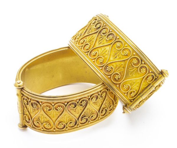 Pair Of Victorian Etruscan Style Gold Bangles - image 1