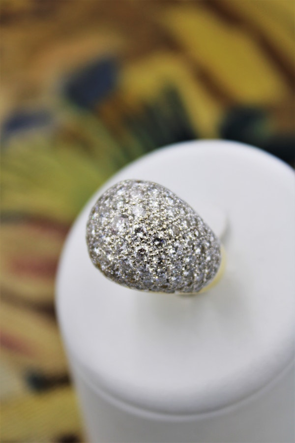 A very stylish Diamond Demi-Bombe Ring mounted in 18 Carat Yellow & White Gold, French, Circa 1980 - image 1