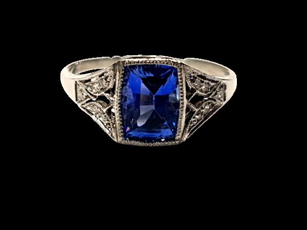 Cornflower Sapphire art deco engagement ring  DBGEMS - image 1