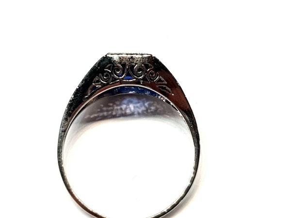 Cornflower Sapphire art deco engagement ring  DBGEMS - image 4