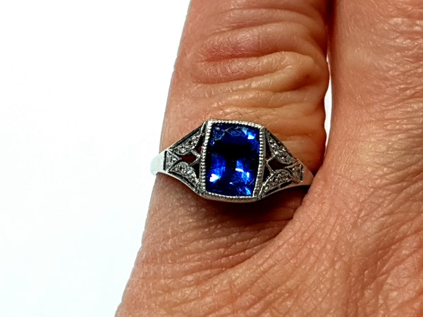 Cornflower Sapphire art deco engagement ring  DBGEMS - image 2