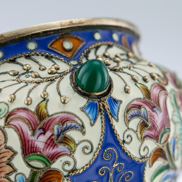 Russian Silver Gilt and Enamelled Faberge Salt by Feodor Ruckert, Moscow c.1890 - image 3