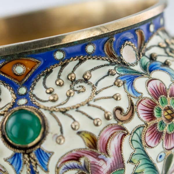 Russian Silver Gilt and Enamelled Faberge Salt by Feodor Ruckert, Moscow c.1890 - image 5