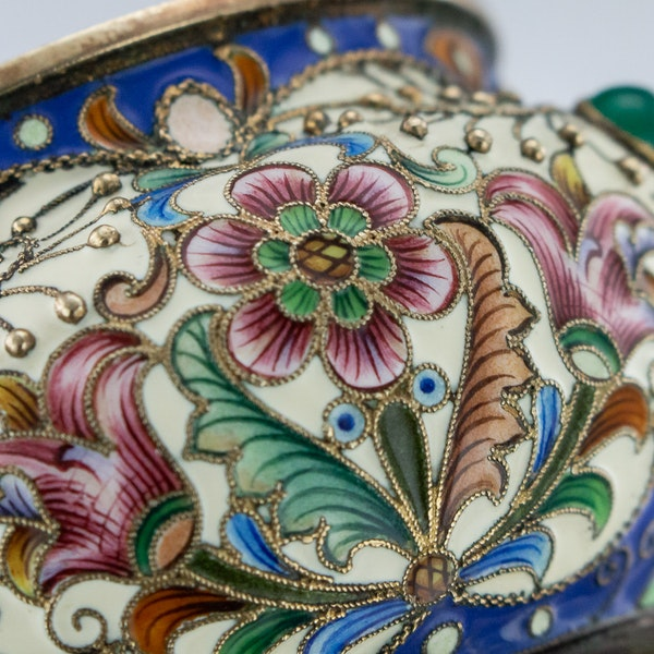 Russian Silver Gilt and Enamelled Faberge Salt by Feodor Ruckert, Moscow c.1890 - image 7