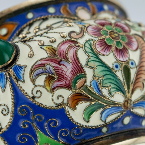 Russian Silver Gilt and Enamelled Faberge Salt by Feodor Ruckert, Moscow c.1890 - image 8