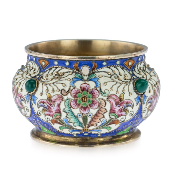 Russian Silver Gilt and Enamelled Faberge Salt by Feodor Ruckert, Moscow c.1890 - image 2