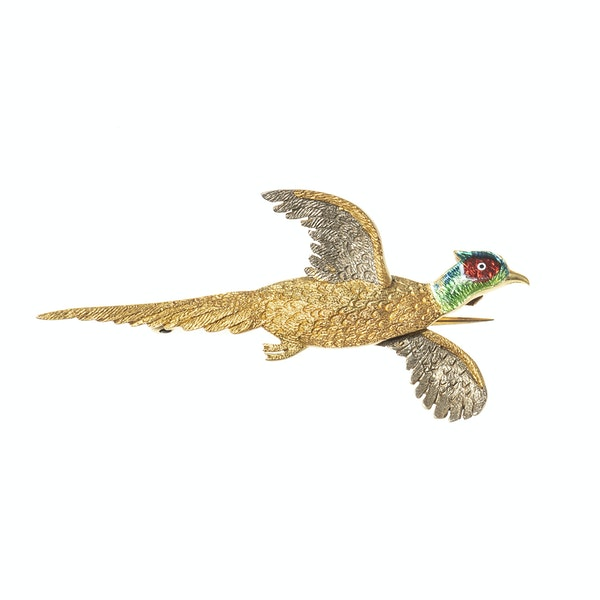 Antique Brooch of a Cock Pheasant in Flight in Gold and Enamelling, English circa 1920. - image 1