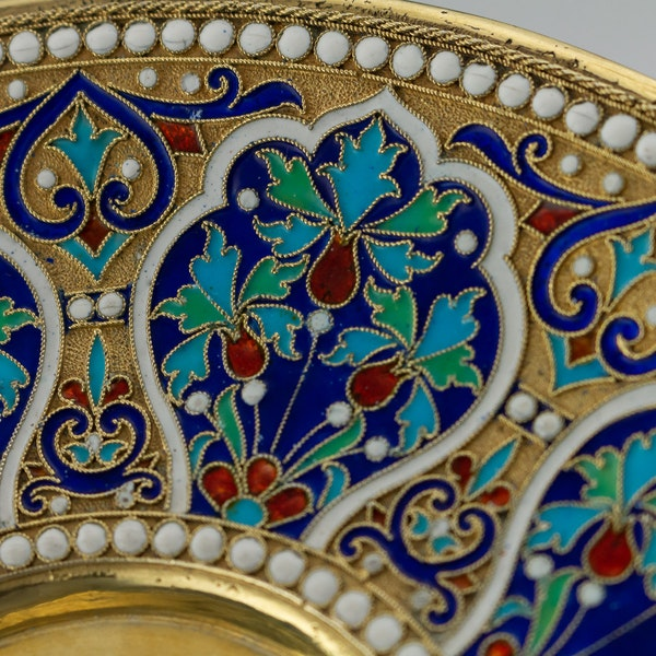 Russian Silver Gilt and Cloisonné Enamel Cup & Saucer, Moscow c.1880 - image 7