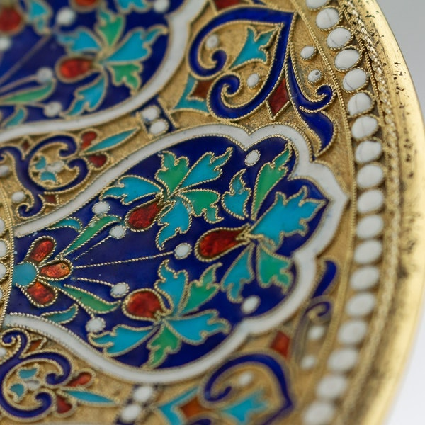 Russian Silver Gilt and Cloisonné Enamel Cup & Saucer, Moscow c.1880 - image 6