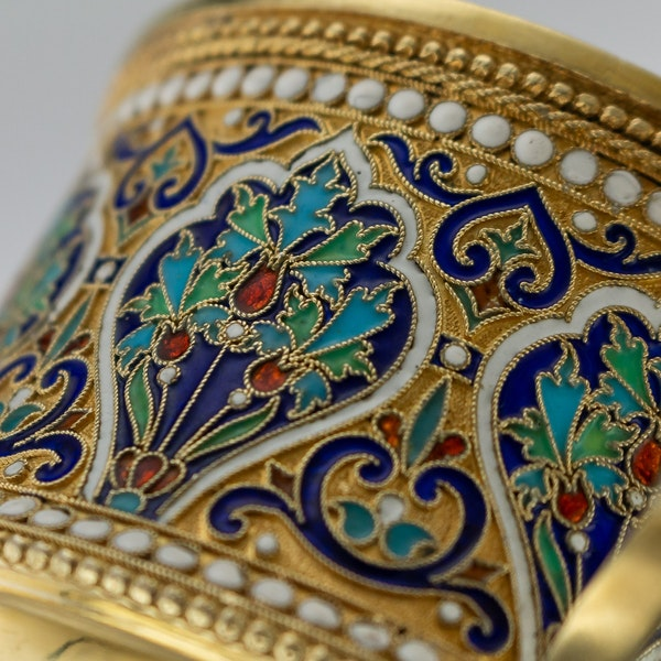 Russian Silver Gilt and Cloisonné Enamel Cup & Saucer, Moscow c.1880 - image 8