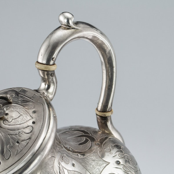 Russian Silver 3 Piece Tea & Coffee Set, St. Petersburg 1856 - image 7