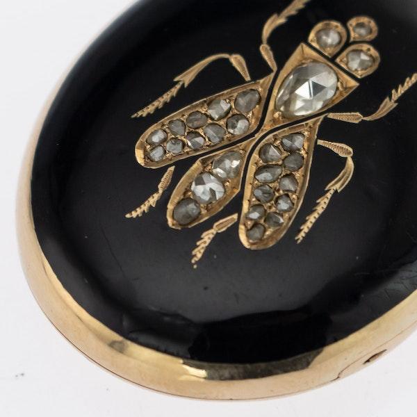 Russian Gold and Black Enamel Locket, St. Petersburgh 1880s. - image 4