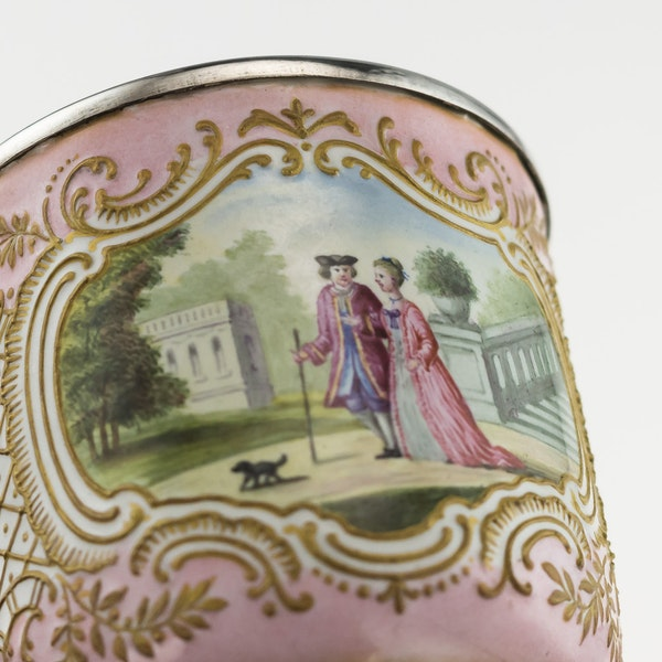 19th Century French Enamel and Silver Cup and Saucer, c.1850 - image 6