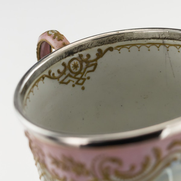 19th Century French Enamel and Silver Cup and Saucer, c.1850 - image 7