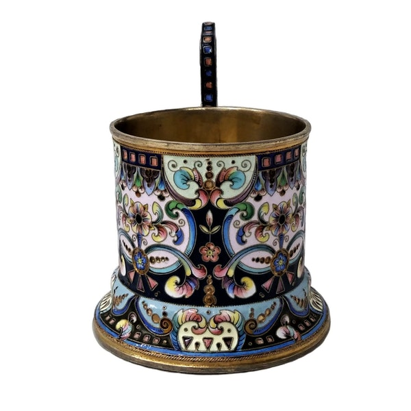 Russian Silver and Enamel Tea Glass Holder, Moscow c.1900 - image 2