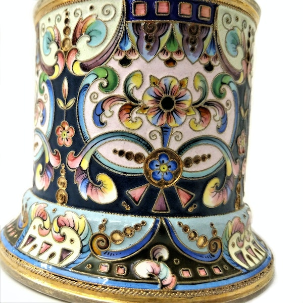 Russian Silver and Enamel Tea Glass Holder, Moscow c.1900 - image 6