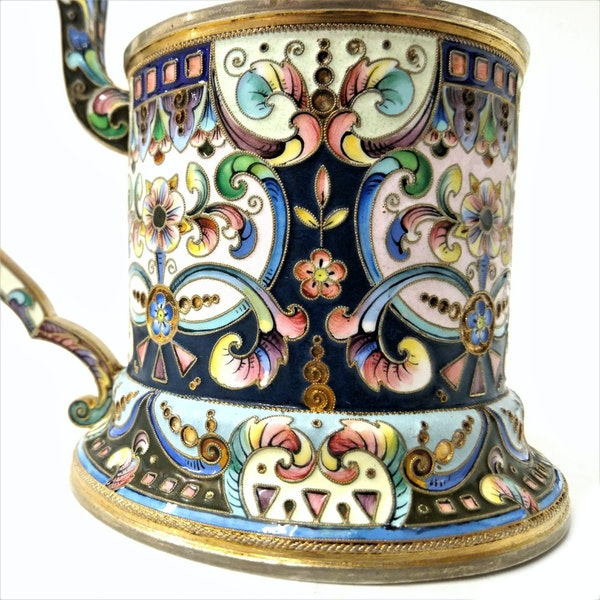 Russian Silver and Enamel Tea Glass Holder, Moscow c.1900 - image 5