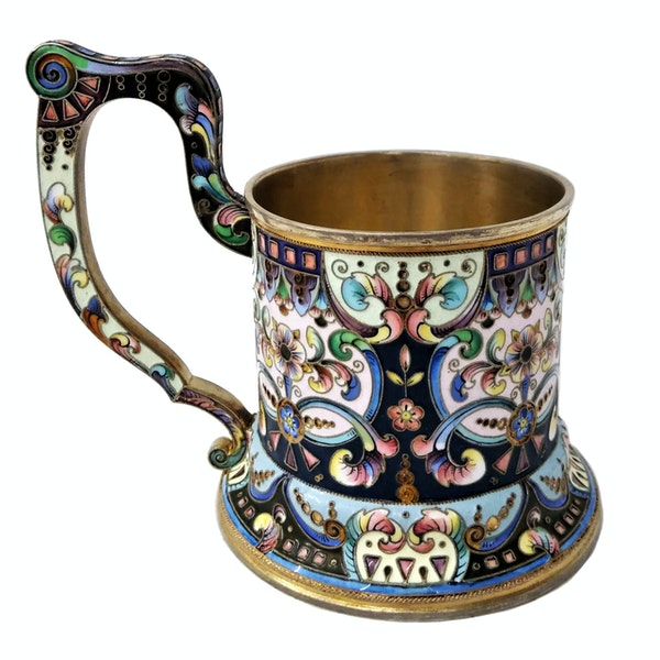 Russian Silver and Enamel Tea Glass Holder, Moscow c.1900 - image 3