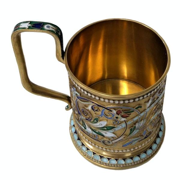 Russian Silver-Gilt and Cloisonné Enamel Tea Glass Holder, c.1900 - image 6