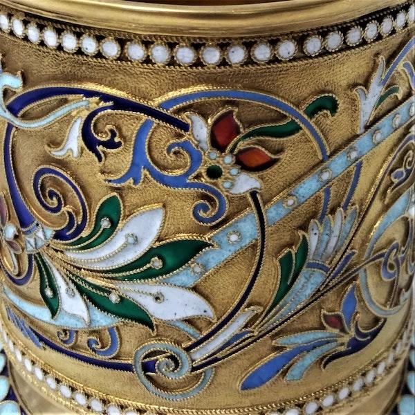 Russian Silver-Gilt and Cloisonné Enamel Tea Glass Holder, c.1900 - image 4