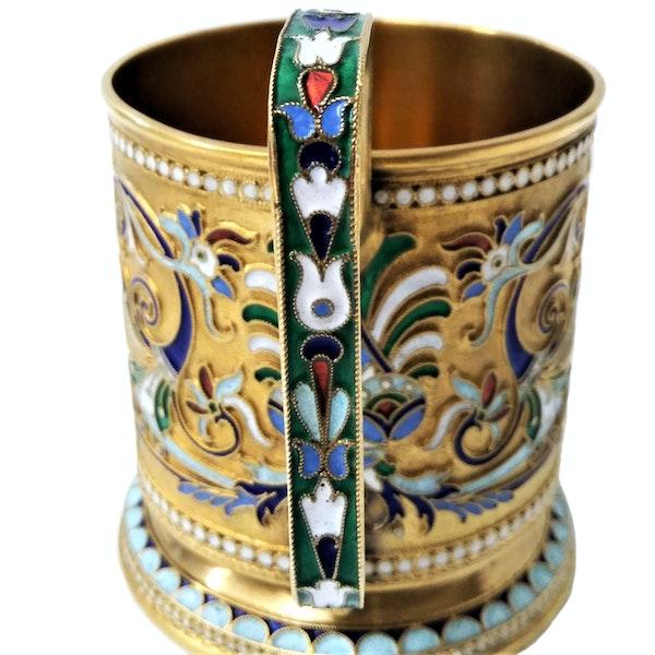 Russian Silver-Gilt and Cloisonné Enamel Tea Glass Holder, c.1900 - image 3