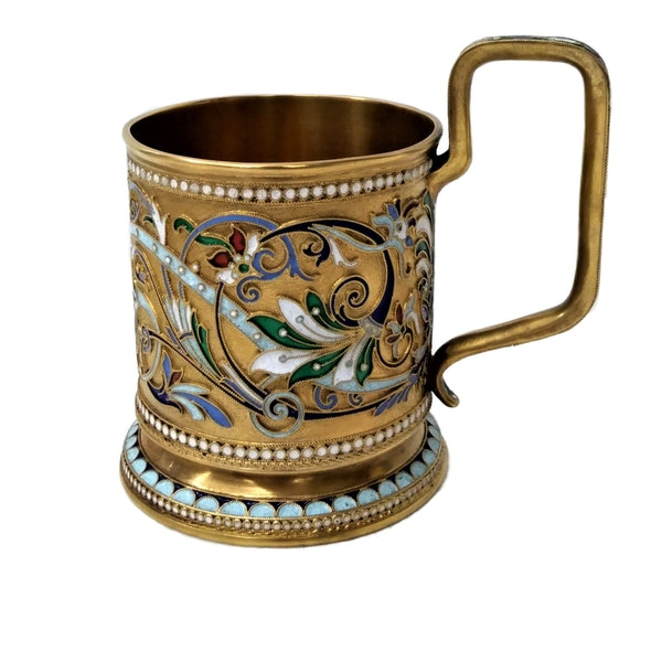 Russian Silver-Gilt and Cloisonné Enamel Tea Glass Holder, c.1900 - image 2