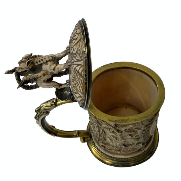 19th Century German Silver-Gilt and Ivory Tankard - image 2