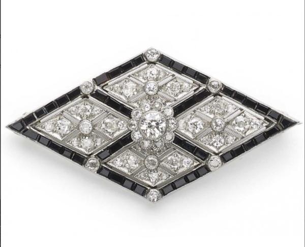 Art Deco Onyx And Diamond Brooch - image 1