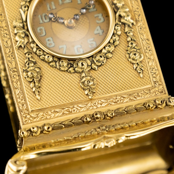 ANTIQUE 20thC 18K GOLD QUARTER REPEATING CARRIAGE CLOCK, LONDON c.1924 - image 13