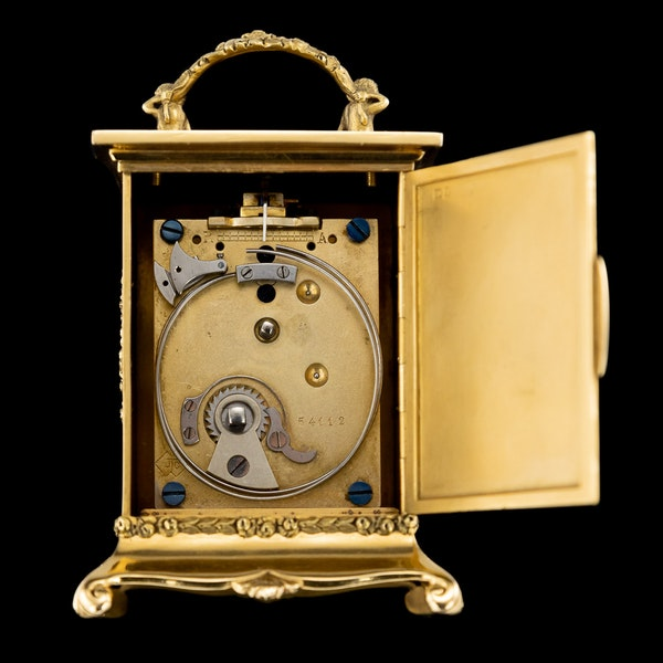 ANTIQUE 20thC 18K GOLD QUARTER REPEATING CARRIAGE CLOCK, LONDON c.1924 - image 7