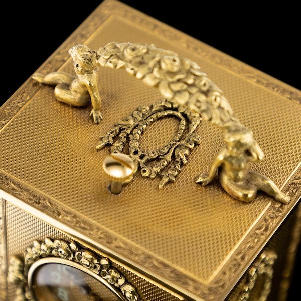 ANTIQUE 20thC 18K GOLD QUARTER REPEATING CARRIAGE CLOCK, LONDON c.1924 - image 9